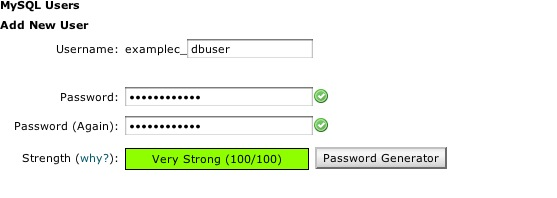 Create MySQL Password
